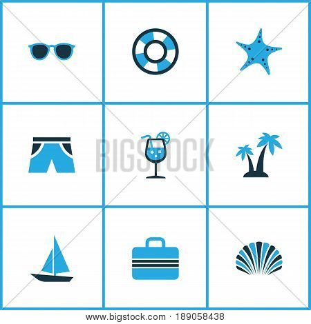 Season Colorful Icons Set. Collection Of Fresh Juice, Shorts, Boat And Other Elements. Also Includes Symbols Such As Juice, Sunglasses, Sea.