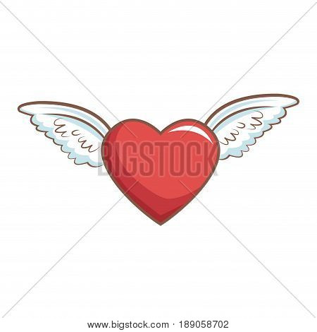 red heart with wings decoration romance retro vector illustration