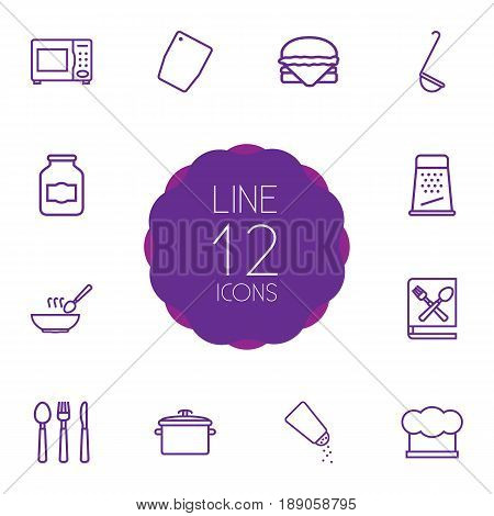 Set Of 12 Culinary Outline Icons Set.Collection Of Chopping Board, Soup, Jug And Other Elements.