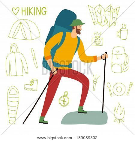 Cartoon traveler with a large backpack and trekking poles walking up the road. Including doodle drawings as map flashlight camera knife sleeping bag tent compass. Hiking illustration