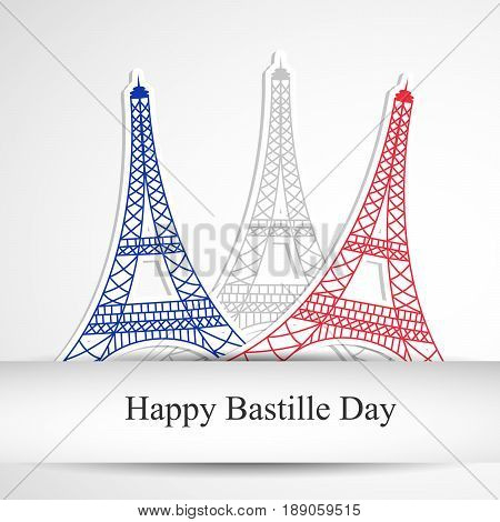 illustration of eiffel towers with happy Bastille day text