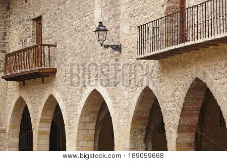 Picturesque stoned arcaded square in Spain. Cantavieja Teruel. Spanish heritage