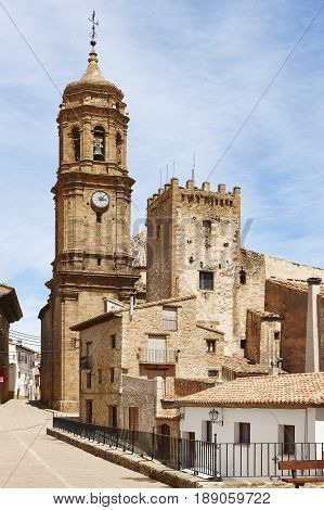 Picturesque village in Spain. Iglesuela del Cid Teruel. Tourism. Architecture