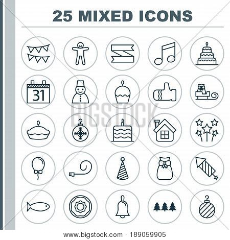 Holiday Icons Set. Collection Of Date, Sleigh, Present Pouch And Other Elements. Also Includes Symbols Such As Festive, Transport, Residential.
