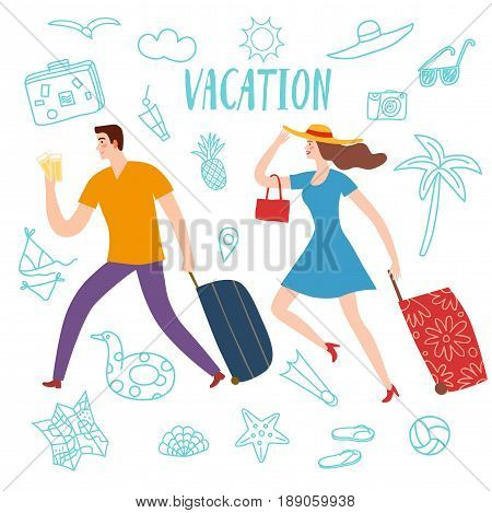 Summer vacation cartoon drawings including pair running with suitcase and doodle elements: palm; camera; sunglasses and different; beach stuff. Traveling illustration for your design.