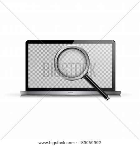 Laptop And Realistic Magnifying Glass. Vector Illustration. Computer With Transparent Screen For You