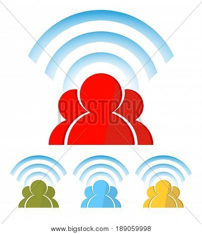 silhouette of people with wireless information network of the Internet, social customer service, the Internet, recruitment
