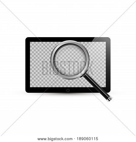 Tablet And Realistic Magnifying Glass. Vector Illustration. Touchpad With Transparent Screen For You