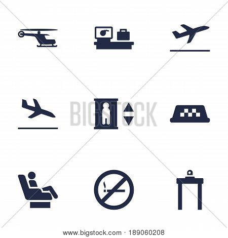 Set Of 9 Plane Icons Set.Collection Of Lift, Letdown, Cab And Other Elements.