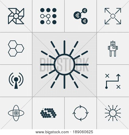 Machine Learning Icons Set. Collection Of Recurring Program, Hive Pattern, Branching Program And Other Elements. Also Includes Symbols Such As Cycle, Conditional, Cpu.