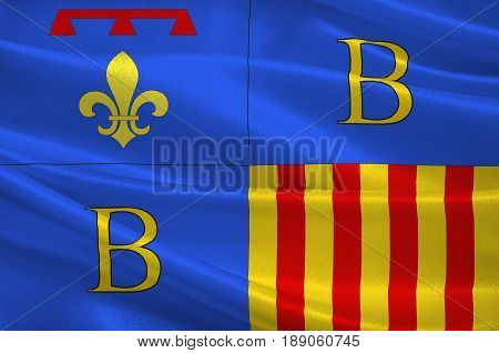 Flag of Brignoles is a commune in the Var departement in the Provence-Alpes-Cote d'Azur region in southern France. 3d illustration