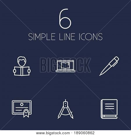 Set Of 6 Education Outline Icons Set.Collection Of Compass, Pen, Encyclopedia And Other Elements.