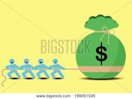 Business Concept Designed as Teamwork Tug of War Pulling A Big Bag of Money