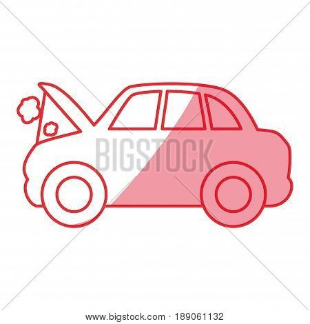 silhouette car burnt engine and dangerous diagnostic vector illustration