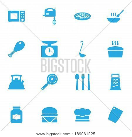 Set Of 16 Kitchen Icons Set.Collection Of Sandwich, Kitchen Rasp, Loaf Elements.