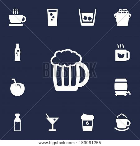 Set Of 13 Drinks Icons Set.Collection Of Bottle, Drink, Cask And Other Elements.