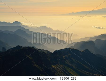 Landscape of mountains, southwest of Gran canaria, Canary islands