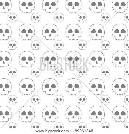 line skull danger and caution alert backgound vector illustration