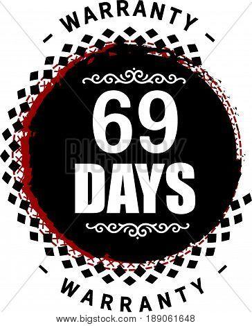 69 days warranty icon vector vintage grunge guarantee background