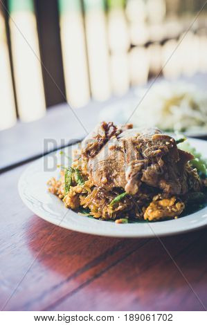 Thai food Pad thai is fried roasted red pork Thailand style original banana leaf bottom groove