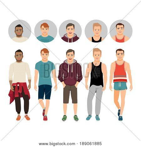 Handsome young guys in casual fitness fit isolated on white background with icons vector set