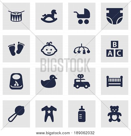 Set Of 16 Baby Icons Set.Collection Of Abc Block, Hangings, Breastplate And Other Elements.