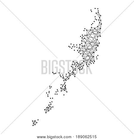 Map of Palau from polygonal black lines and dots of vector illustration