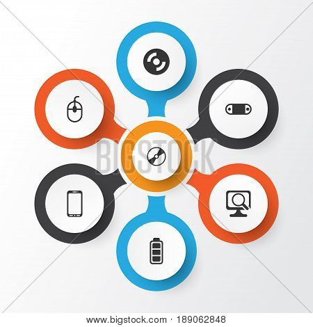 Computer Icons Set. Collection Of Laptop, Cd-Rom, Control Device And Other Elements. Also Includes Symbols Such As Mobile, Scan, Disc.