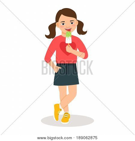 Cute girl with sweet icecream cone isolated on white background. Vector illustration