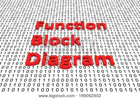 Function block diagram in the form of binary code, 3D illustration
