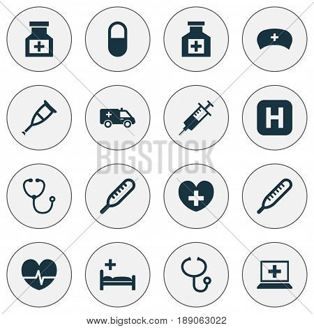 Antibiotic Icons Set. Collection Of Pellet, Database, Drug And Other Elements. Also Includes Symbols Such As Medication, Painkiller, Help.