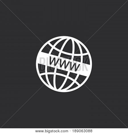www icon vector isolated on black .