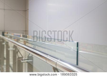 Indoor Glass Wall With Aluminium Handrail stock photo
