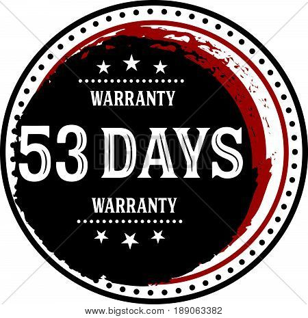 53 days warranty vintage grunge rubber stamp guarantee background poster