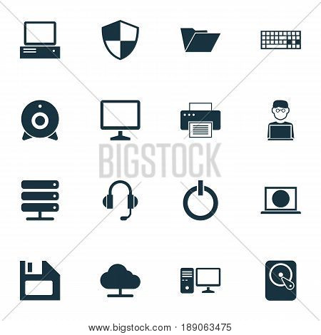 Computer Icons Set. Collection Of Broadcast, Tree, Keypad And Other Elements. Also Includes Symbols Such As Button, Printing, Dossier.
