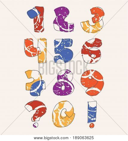 Colorful set with hand drawn numbers sequence from 0 to 9 on beige background. Vector collection hand written in bright colors. Digits decorated with abstract splashes and drops in random order