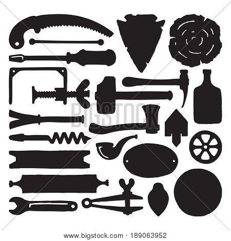 Sketched Vector Carpenter Tools And Symbols Set