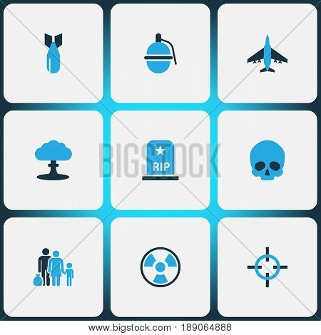 Warfare Colorful Icons Set. Collection Of Grenade, Grave, Bio Hazard And Other Elements. Also Includes Symbols Such As Target, Explosion, Bio.