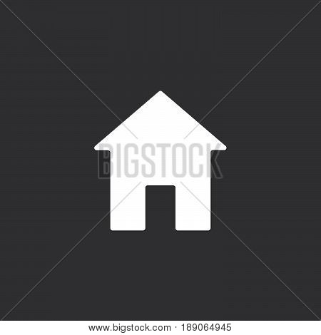 Home icon vector isolated on black .