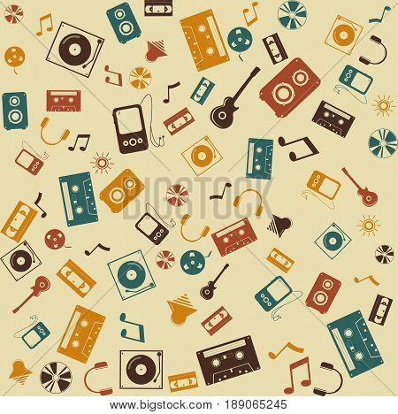 background seamless. Retro Music and sound. Design illustration