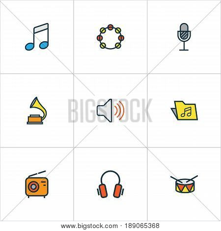Multimedia Colorful Outline Icons Set. Collection Of Barrel, Tambourine, Sound And Other Elements. Also Includes Symbols Such As Music, Barrel, Amplifier.
