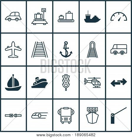 Transport Icons Set. Collection Of Auto Car, Lorry, Roadblock And Other Elements. Also Includes Symbols Such As Car, Traffic, Pointer.