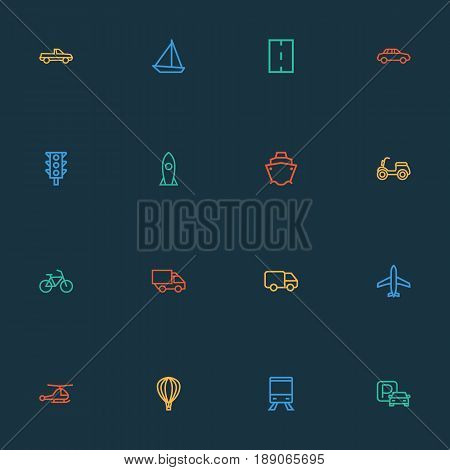 Transportation Outline Icons Set. Collection Of Train, Road, Aircraft And Other Elements. Also Includes Symbols Such As Space, Sea, Copter.
