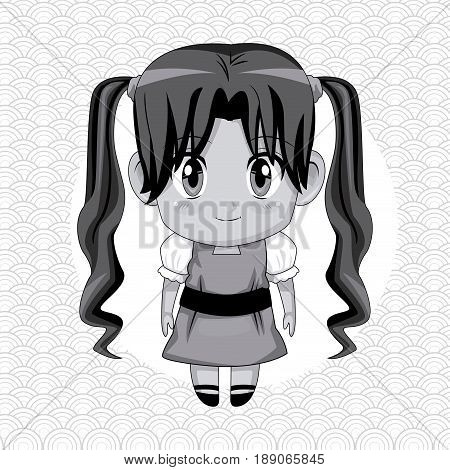 monochrome abstract background with circular frame and cute anime girl with long pigtails hairstyle vector illustration