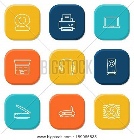 Set Of 9 Notebook Outline Icons Set.Collection Of Cooler, Web Cam, Notebook And Other Elements.