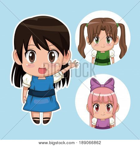 blue color set cute anime tennagers girl in dress with several facial expressions vector illustration