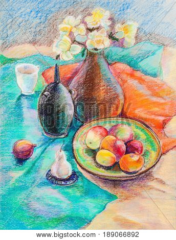 Still life with fruits on green dish