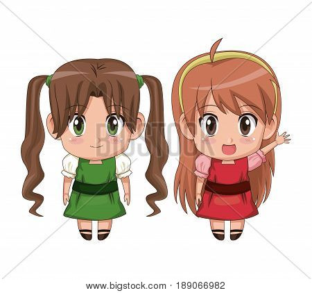 colorful full body couple cute anime girl facial expression happiness and greeting vector illustration