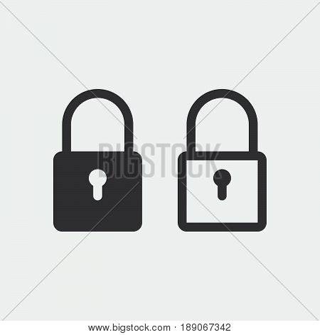 lock icon encryption symbol solid and outline isolated on grey