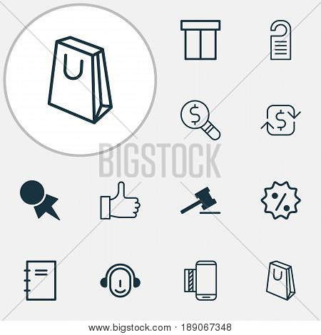 E-Commerce Icons Set. Collection Of Recurring Payements, Rebate Sign, Mobile Service And Other Elements. Also Includes Symbols Such As Telephone, Payment, Paper.
